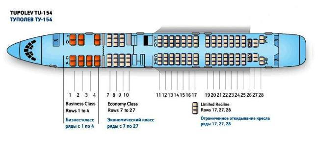 Схема пассажирских мест ТУ-154