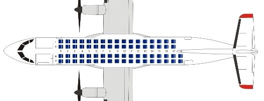 Схема пассажирских мест ATR-72