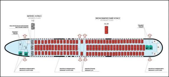 Схема пассажирских мест Boeing 767-300