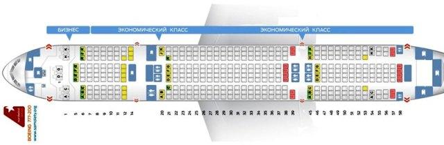 Схема пассажирских мест Boeing 777-200