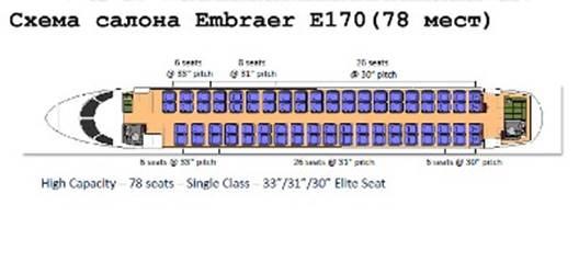 Схема пассажирских мест Embraer 170