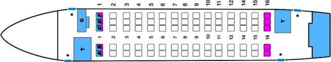 Схема пассажирских мест Ан-148
