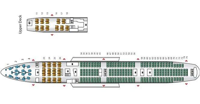 Схема пассажирских мест Boeing 747 400