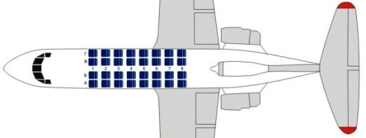 Схема пассажирских мест Як-40
